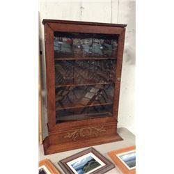 Oak Wall Display Cabinet 42 1/2''T x 27'' W x 9''D