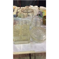 Clear Glass Canisters And Covered Dishes