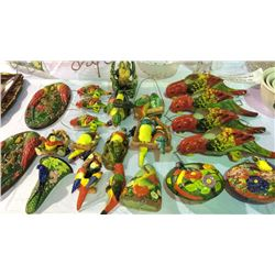 Ceramic Hand Painted Parrot Collection 22pc