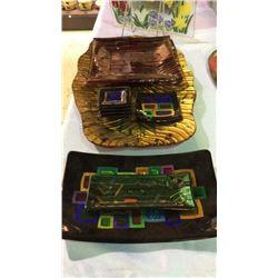 Art Glass Platters & Plates 9pc