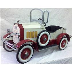1930's Buick Pedal Car with Spring Suspension Enamel Radiator Emblem & Radiator Cap. Broken  wing on