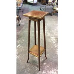 Tall Pedestal with Brass Trim & Rotating Top 44''Tall 11'' x 11'' Top