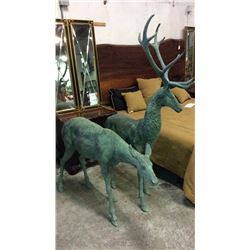 Pair of Large Bronze Deer Buck 75''T 53''L Doe 40''T x 60''L