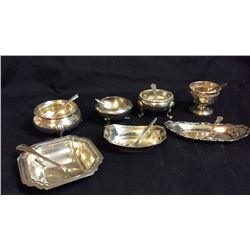 7 Sterling Salt Dips with Spoons All pieces marked Sterling