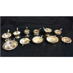 11 Sterling Marked Salt dips With Spoons All Pieces Marked Sterling