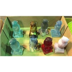 Vintage Degenhart Glass Owls 8pcs