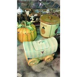 Canister Set, Cookie Jar and Soup Treen