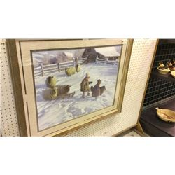 The Sledding Party Framed Picture