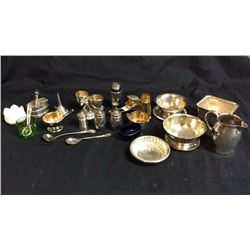 Collection of misc sterling and silver plate
