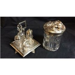 Serving Set and Silver Plate Top Jar