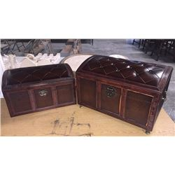 Leather Top 2pc Trunk Set