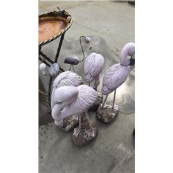 6 Concrete Flamingos