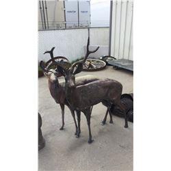 Pair of Life Size Aluminum Deer