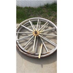 Pair of large wooden wheels