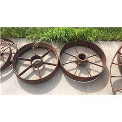 "Pair of 22"" Iron Wheels"