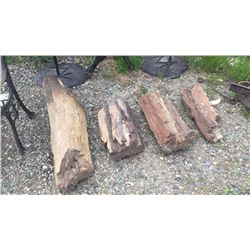 4 Large Pieces of Petrified Wood 3 1/2 ft long 1 1/2 ft long 1 1/2 ft long 1 ft long