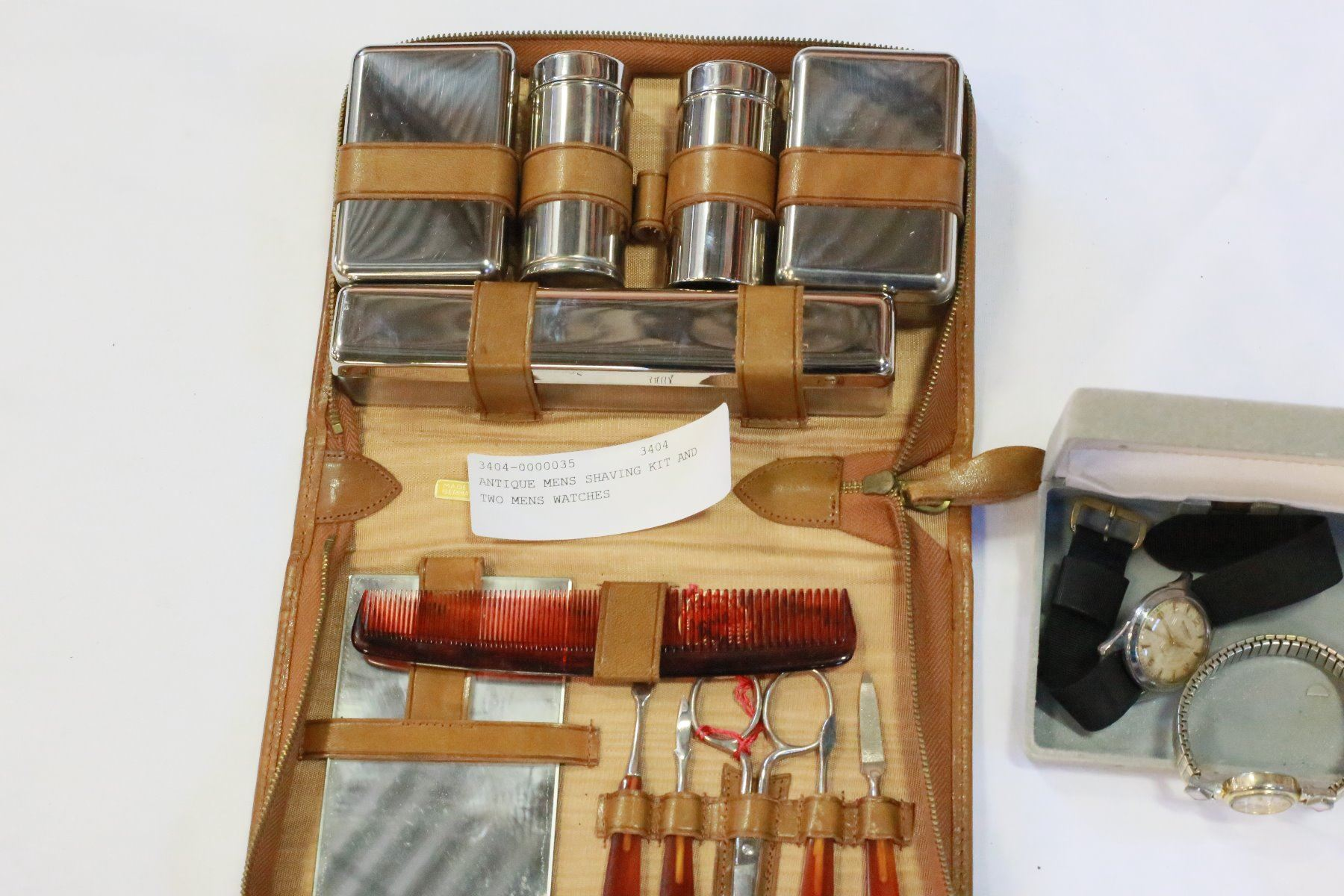 ANTIQUE MENS SHAVING KIT AND TWO MENS WATCHES