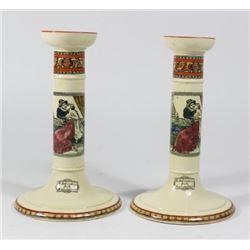 Pair Adams Pottery Shakespeare Candlesticks