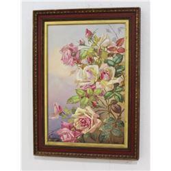 Framed Porcelain Plaque Depicting Roses