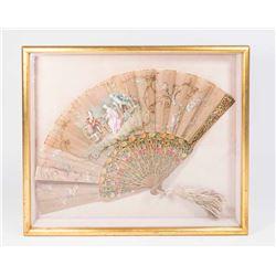 Handpainted Silk & Enamel Framed Fan