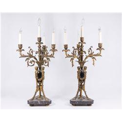 Pair Brass Figural 4-Light Candelabra/Lamps