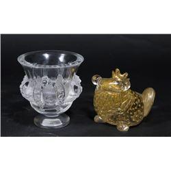 Lalique Bird Pedestal Bowl & Murano Frog Prince
