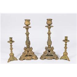 2 Pairs Brass Figural Candlesticks