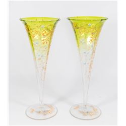 Pair Enameled Green to Clear Floral Vases