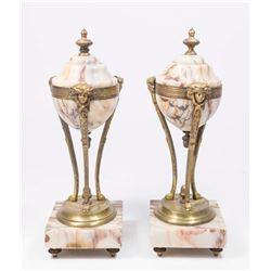 Pair Bronze & Marble Cassolettes