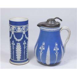 :Wedgwood Syrup Jug & Brush Pot