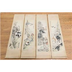 Set 4 Chinese Watercolor Scrolls