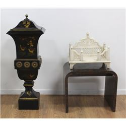 Chinoiserie Metal Planter & Indian Altar Piece