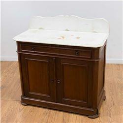 Oak Dry Sink with Marble Top & Backsplash