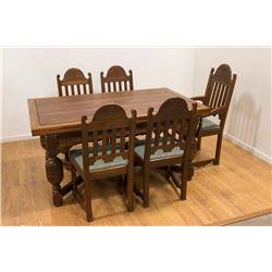 Vintage Carved Oak Refractory Dining Table