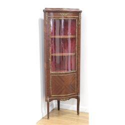 French Walnut Curved Glass Corner Curio Cabinet