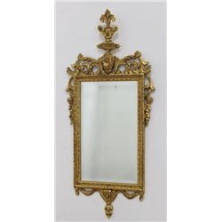 Carved Gilt Mirror with Fleur de Lis on Top