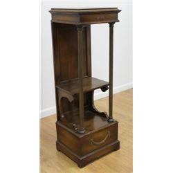:Brass Trim Walnut Pedestal