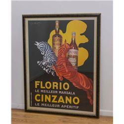 Florio Cinzano Advertising Poster