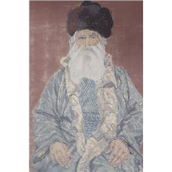 Unframed Pastel of a Rabbi