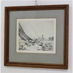 "Leon R. Pescheret, ""Sailing with Chicago Skyline"""