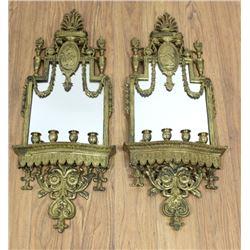 Pair Bronze Mirrored 4-Light Sconces