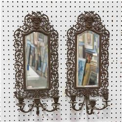 Pair Mirrored Back 3-Light Sconces
