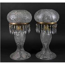 Pair Mid-Century Cut Glass Lamps