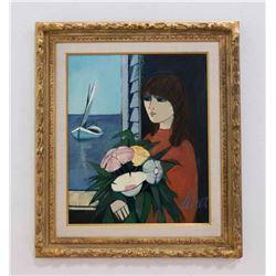 """Charles Levier, """"Femme Aux Fleurs"""" Oil on Canvas"""