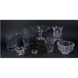 8 Mid-Century Modern Crystal Bowls & Vase