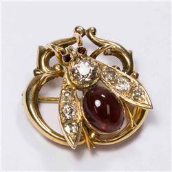 Russian 14K Yellow Gold, Diamond, & Garnet Bug Pin