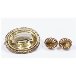 :14K Yellow Gold Pin & Earrings with Citrine