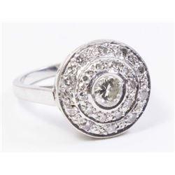 :14K White Gold & Diamond Art Deco Ring