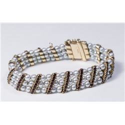 :Pearl & Ruby 14K Yellow Gold Bracelet