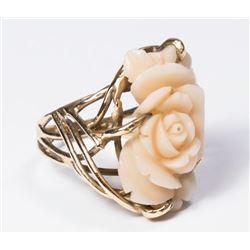 14K Gold & Carved Coral Floral Form Ring